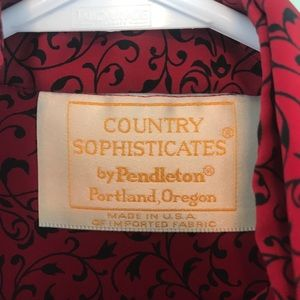 Pendleton Tops - Vintage Pendleton Scarf Blouse in Red/Black Print